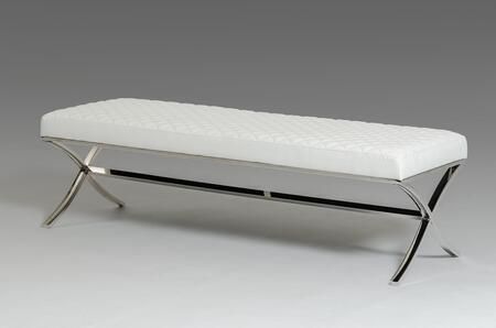 Modrest Adderley VGVCBX1101-WHT Modern Dining Bench with Leatherette Upholstery and Stainless Steel Legs  in