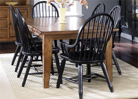 Treasures Collection 17-DR-O7PCS 7-Piece Dining Room Set with Rectangular Dining Table  4 Black Side Tables and 2 Black Arm Chairs in Rustic Oak
