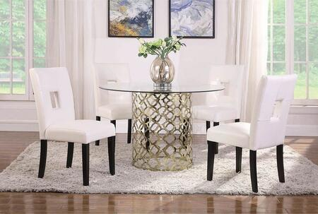 Bradshaw Collection 108851-S5 5-Piece Dining Room Set with Round Dining Table and 4 Side Chairs in Brushed Gold and