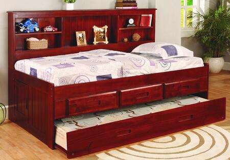 2822-3DR-TTR Twin Size Bookcase Bed with Slat Kit Included  3-Drawer Elevation Kit and Twin Roll Out Trundle in Merlot