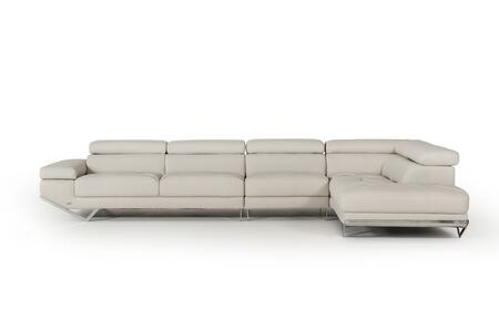 Divani Casa Quebec Collection VGKN8488A-LTGRY 152 inch  3-Piece Eco-Leather Sectional Sofa with Left Arm Facing Sofa  Armless Chair and Right Arm Facing Chaise in