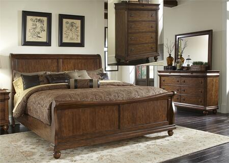 Rustic Traditions Collection 589-BR-KSLDMC 4-Piece Bedroom Set with King Sleigh Bed  Dresser  Mirror and Chest in Rustic Cherry