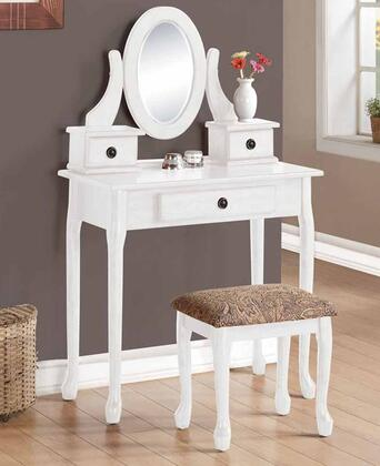 Jonas 90153 32 inch  Vanity Set with 3 Drawers  Mirror  Cushioned Stool  Cabriole Legs and Decorative Hardware in White
