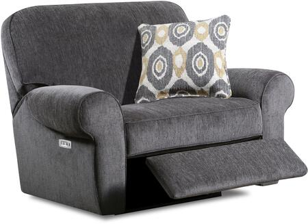 """57005P-195_Shambala_Smoke_55""""_Powered_Cuddler_Recliner_with_Rolled_Arms_and_USB_Charging_Port_in"""