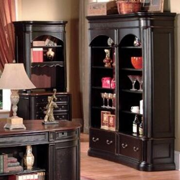 KA6195BS Kahlua Wood Double Bookcase with 8 Shelves and 2 Large Drawers in Two Tone Black and Dark Cherry