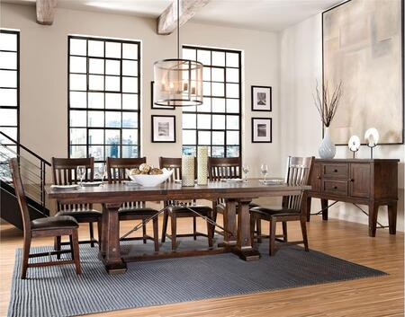 Hayden HY-TA-42100460-RSE-BSE  Extendable Dining Room Trestle Table and 6 Chairs with Distressed Detailing in