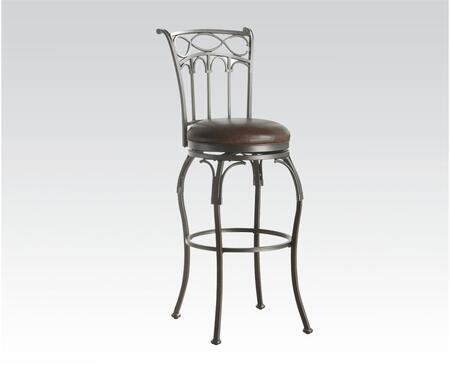 96300 Tanger Bar Chair with Swivel and Bonded Leather Upholstery in Black and