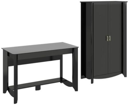 Aero Collection MY16928-03-97 2-Piece Desk Set with Writing Desk and Tall Storage Cabinet in Classic Black