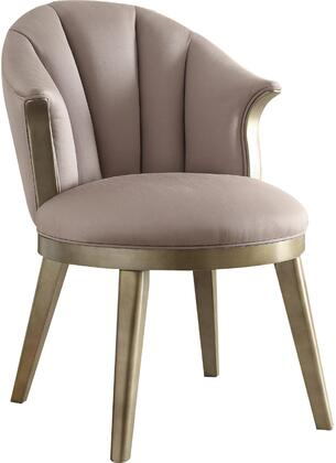 Brecken Collection 59562 23 inch  Accent Chair with Curved Backrest  Round Seat  Tapered Legs  Birch Wood Construction and Fabric Upholstery in Lavender and Gold
