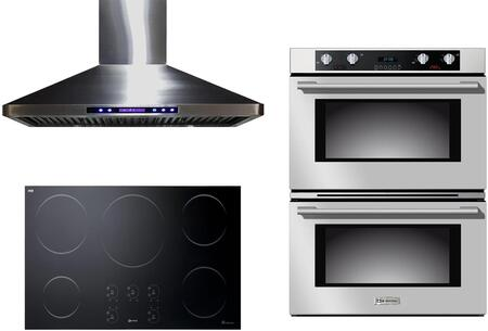 3-Piece Stainless Steel Kitchen Package with VECTI365 36 inch  Induction Smoothtop  VEBIEM3030DSS 30 inch  Electric Double Wall Oven  and VEHOOD36CH 36 inch  Wall Mount
