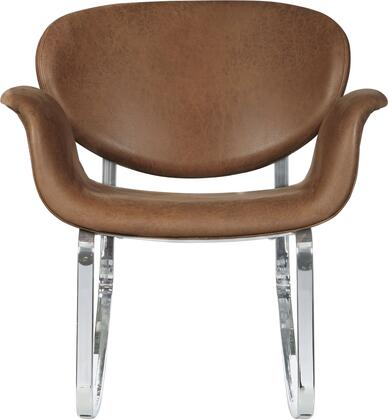 DS-D144-900-1 Brown Faux Leather Metal Back Rocking Chair with Curved Steel Frame and Rubber Stoppers to Prevent Tipping  in Polished Chrome
