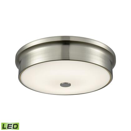 FML4225-10-16M Towne Round LED Flushmount In Satin Nickel And Opal Glass -
