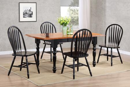 Sunset Selections Collection DLU-TDX3472-820-AB5PC 5 Piece Drop Leaf Extension Dining Table Set with Rectangular Table + 4 Arrowback