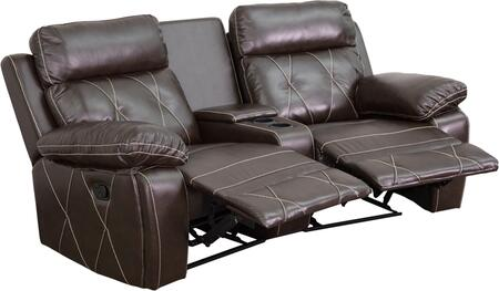 BT-70530-2-BRN-CV-GG Real Comfort Series 2-Seat Reclining Brown Leather Theater Seating Unit with Curved Cup 548622