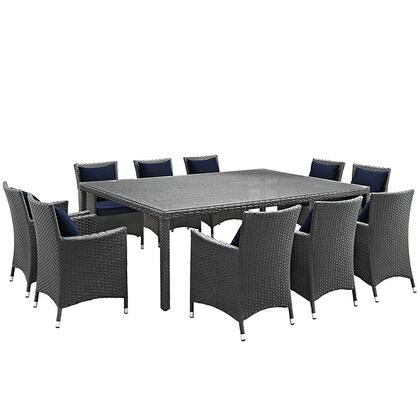 Sojourn Collection EEI-2311-CHC-NAV-SET 11-Piece Outdoor Patio Sunbrella Dining Set with Dining Table and 10 Armchairs in Canvas