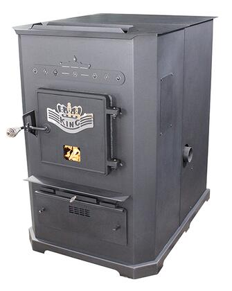 8500  160 lbs Hopper Capacity Large Multi Fuel Warm Air Furnace with Cast Iron Door  Large Ash Pan and a Digital Control