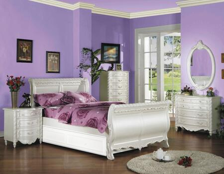 Pearl 01005FTNCDHU 5 PC Bedroom Set with Full Size Bed + Nightstand + Lingerie Chest + Dresser + Mirror in Pearl White