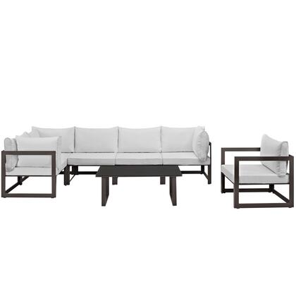 Fortuna Collection EEI-1733-BRN-WHI-SET 7-Piece Outdoor Patio Sectional Sofa Set with Coffee Table  Single Sofa  3 Corner Sections and 2 Center Sections in