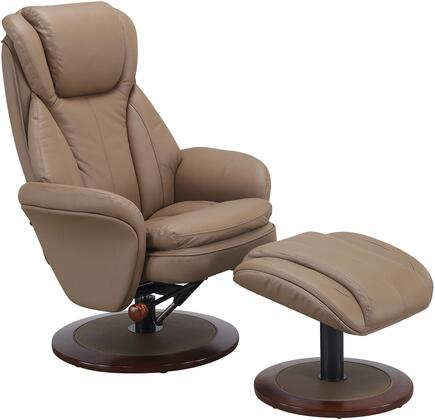 Comfort Chair Collection NORWAY-240-11 18 inch  Norway Recliner and Ottoman with Walnut Alpine Wood Frame  360 Degree Swivel  Adjustable Recline  Lumbar Support and