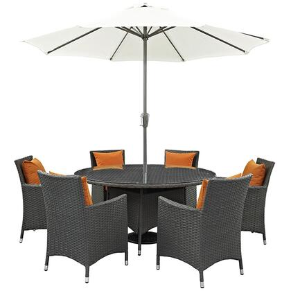 Sojourn Collection EEI-2270-CHC-TUS-SET 8-Piece Outdoor Patio Sunbrella Dining Set with 59