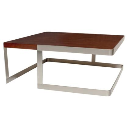 23101015SSWW Caroline Square Cocktail Table with Walnut Top and Brushed Stainless Steel