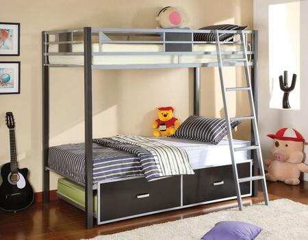 Cletis Collection CM-BK1013-TRUNDLE Full Size Bunk Bed with Trundle  Full Metal Construction  Full Length Guardrails and Movable Ladder in Silver and Gun Metal