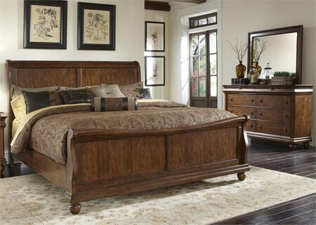 Rustic Traditions Collection 589-BR-QSLDM 3-Piece Bedroom Set with Queen Sleigh Bed  Dresser and Mirror  in Rustic Cherry
