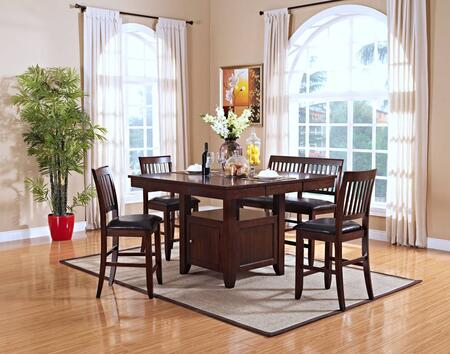4510110CCB Kaylee 6 Piece Counter Height Dining Room Set with Table  Four Chairs and Bench  in