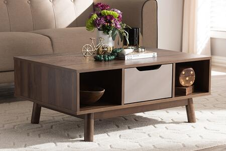 CT 2190-01-BROWN/GREY-CT Baxton Studio Britta Mid-Century Modern Walnut Brown and Grey Two-Tone Finished Wood Coffee