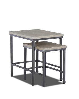 Shoal Creek Collection 355-807-ETBL Set of (2) Nesting Table with 2 Graduated Tables  Metal Legs  Stretchers and Wood Top in Dry Light Gray Ash