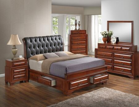 G8850E-FB5BDMNC 5-Piece Bedroom Set with Full Size Storage Bed + Dresser + Mirror + Single Nightstand + Chest  in