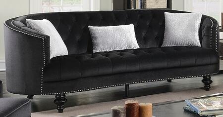 Manuela CM6145BK-SF Sofa with Turned Legs  Nail Head Accents and Flannelette Fabric Upholstery in