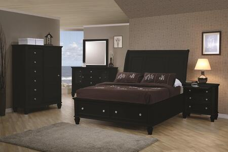 201329keset5 Sandy Beach 5 Pc Eastern King Bedroom Set In Black Finish (bed  Nightstand  Dresser  Mirror  And