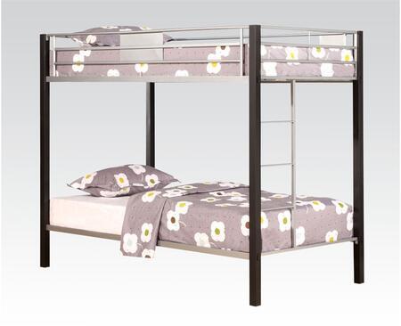 Mirella Collection 37240 Twin Over Twin Size Bunk Bed with Full Length Guard Rail  Built-in Side Ladder  Slat System Included and Metal Frame in Silver and