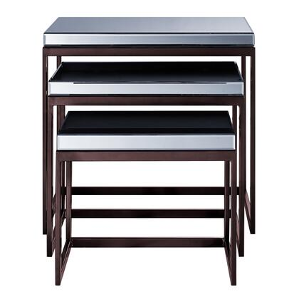 DSD1140013 Smoked Ed Metal Base Nesting Tables - Set Of 3 In Brown