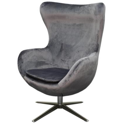 Finn Collection 453040-SY-CH Chair with Chrome Legs  360 Degree Swivel and Fabric Upholstery in Shadow