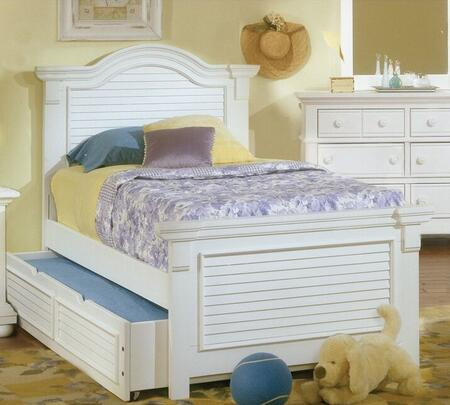 Cottage Traditions 6510-33PAN-906 Twin Sized Panel Bed with Trundle Bed  Arched Crown Overlay and Molding Details in Eggshell