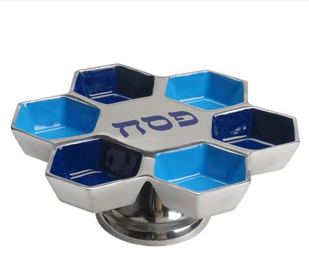 PT-533 Handmade Passover Tray with Pedestal  Enamel Center and 6 Smaller Compartments in Silver and