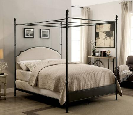 Sinead Collection CM7420CK-SET California King Size Canopy Bed with Ball Finials  Padded Fabric Headboard and Powder Coated Metal Construction in Gun Metal