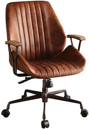 Hamilton Collection 92413 Executive Office Chair with Swivel Seat  Adjustable Height  5-Star Caster Base  Wooden Armrest  Metal Frame and Top Grain Leather