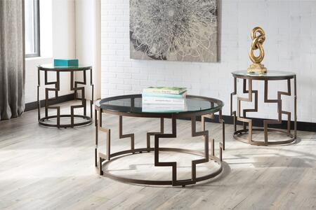 Frostine Collection T138-13 3-Piece Occasional Table Set with Cocktail Table and 2 End Tables in Dark