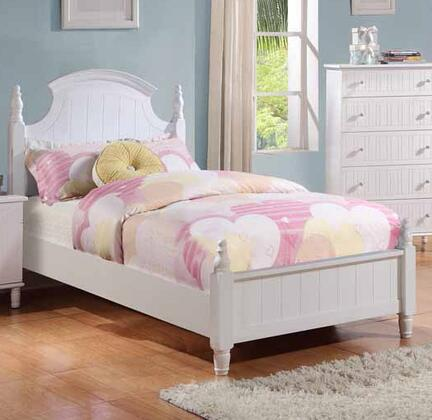 Bethany Collection 400681T Twin Size Poster Bed with Short Turned Posts  Curved Crowned Headboard  Subtle Vertical Grooves and Wood Construction in