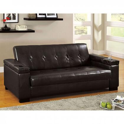 "Logan Collection CM2123-PK 90"" Futon Sofa with Under-Seat Storage  Cup Holders and Leatherette Upholstery in"