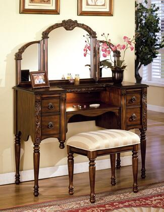 Ashton Collection 06540M 2 PC Vanity Set with Vanity + Stool + Mirror in Oak