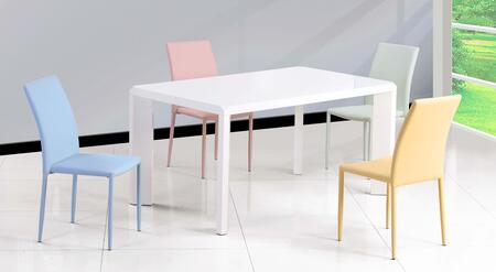 Fiona-5pc-grn Fiona Dining 5 Piece Set Gloss White Parson Dining Table With 4 Green Fully Upholstered Stackable Side