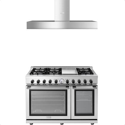2-Piece Stainless Steel Kitchen Package with RN482SPSS 48 inch  Freestanding Dual Fuel Range and HN481BSS 48 inch  Wall Mount Hood
