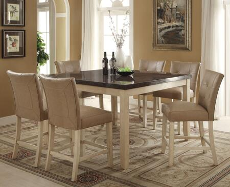 Faymoor Collection 71760T6C 7PC Bar Table Set with Counter Height Table + 6 Counter Height Chairs in Antique White