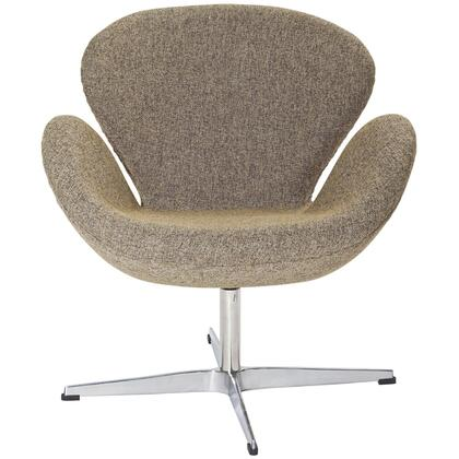 Wing Collection EEI-137-OAT Accent Chair with Aluminum Rotating Base  High Density Foam Cushions  Re-Enforced Fiberglass Frame and Wool Upholstery in Oatmeal