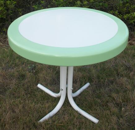 Retro Collection 71320 22 inch  Round Table with Circular Metal 2-Tone Top and Shaped Legs in
