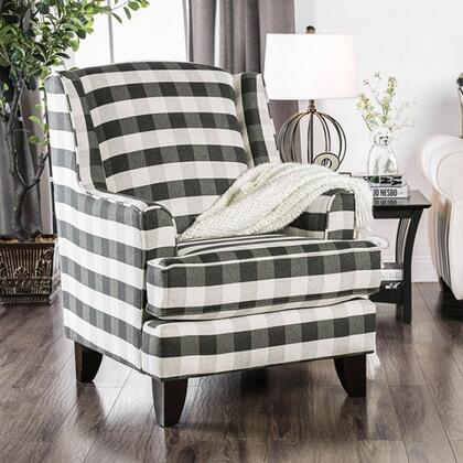 Patricia SM8171-CH-ST Stripe Chair with Wooden Tapered Legs  Piped Stitching and Fabric Upholstery in Ivory and